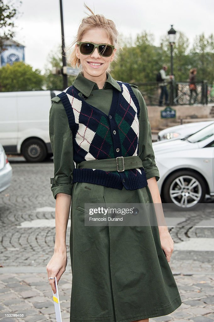 Elena Perminova arrives at the Louis Vuitton Spring/Summer 2013 show as part of Paris Fashion Week on October 3 2012 in Paris France