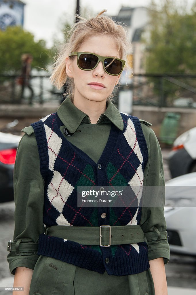 Elena Perminova arrives at the Louis Vuitton Spring/Summer 2013 show as part of Paris Fashion Week on October 3, 2012 in Paris, France.