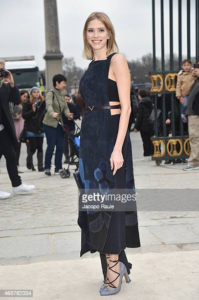 Elena Perminova arrives at Valentino Fashion Show during Paris Fashion Week Fall Winter 2015/2016 on March 10 2015 in Paris France
