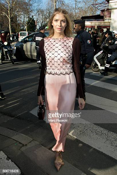 Elena Perminova arrives to attend the Christian Dior Haute Couture Spring Summer 2016 show as part of Paris Fashion Week on January 25 2016 in Paris...