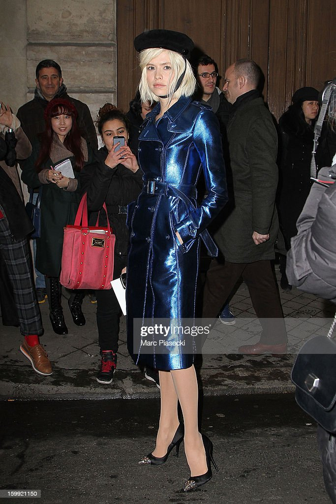 Elena Perminova arrives to attend the Elie Saab Spring/Summer 2013 Haute-Couture show as part of Paris Fashion Week at Pavillon Cambon Capucines on January 23, 2013 in Paris, France.