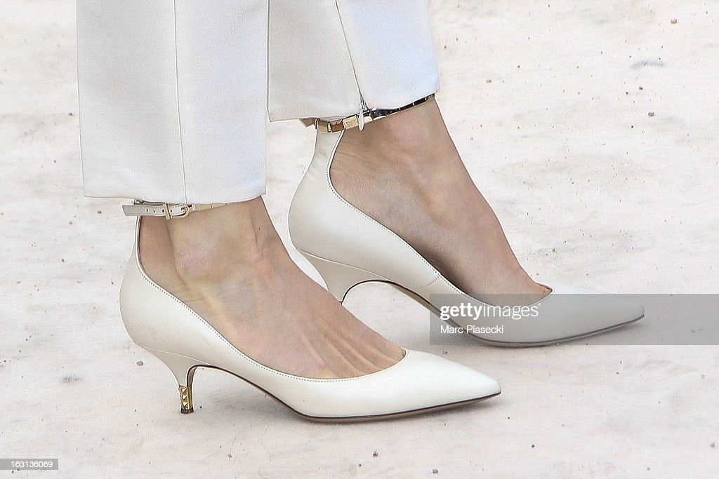 Elena Perminova (shoe detail) arrives to attend the 'Valentino' Fall/Winter 2013 Ready-to-Wear show as part of Paris Fashion Week on March 5, 2013 in Paris, France.