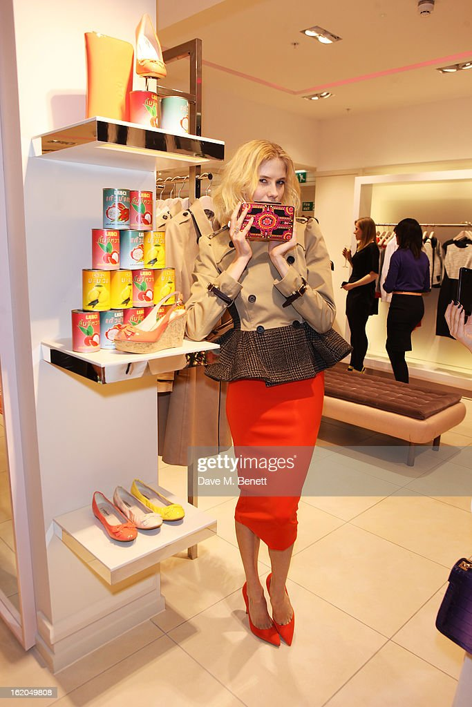 Elena Perminova attends as L.K. Bennett London and Caroline Issa launch their exclusive collection of shoes and handbags for Spring Summer 2013 at L.K. Bennett on February 18, 2013 in London, England.