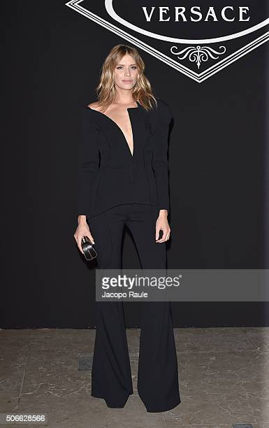 Elena Perminova attends at the Versace fashion show as part of Paris Fashion Week Haute Couture Spring/Summer 2016 on January 24 2016 in Paris France