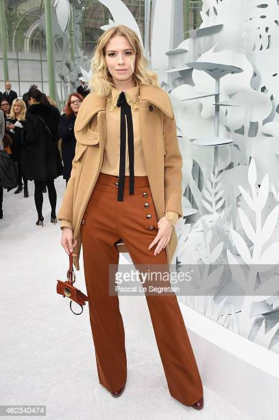 Elena Perminova attends the Chanel show as part of Paris Fashion Week Haute Couture Spring/Summer 2015 on January 27 2015 in Paris France
