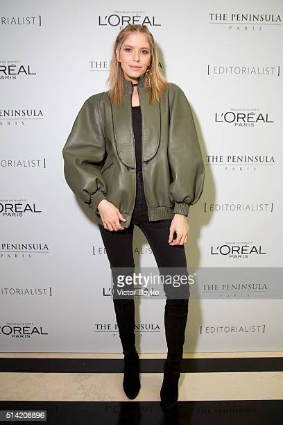 Elena Perminova attends the Editorialist Spring/Summer 2016 Issue Launch Party at the Hotel Peninsula as part of the Paris Fashion Week Womenswear...