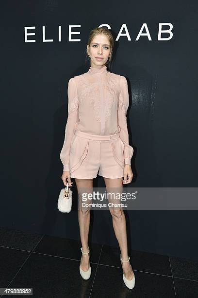 Elena Perminova attends the Elie Saab show as part of Paris Fashion Week Haute Couture Fall/Winter 2015/2016 on July 8 2015 in Paris France