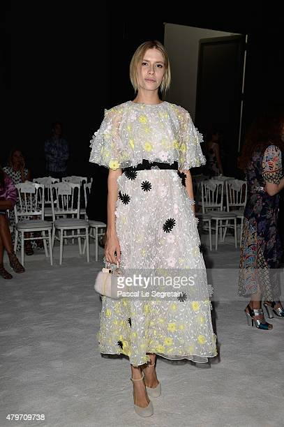 Elena Perminova attends the Giambattista Valli show as part of Paris Fashion Week Haute Couture Fall/Winter 2015/2016 on July 6 2015 in Paris France