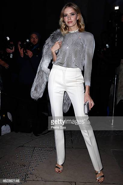 Elena Perminova attends the Giorgio Armani Prive show as part of Paris Fashion Week Haute Couture Spring/Summer 2015 on January 27 2015 in Paris...