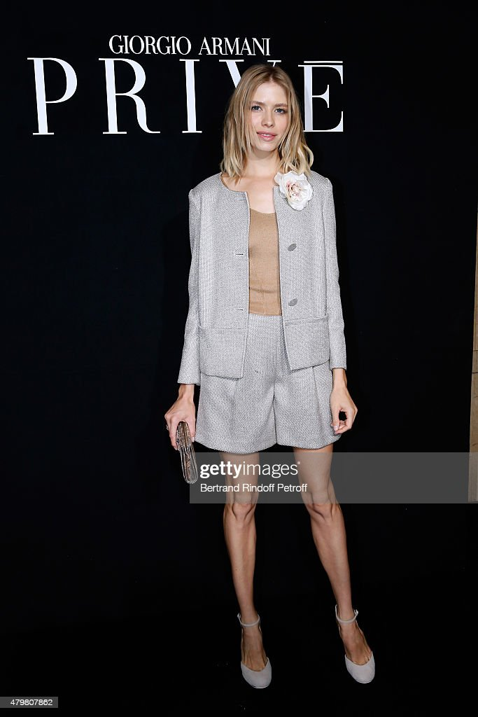 Elena Perminova attends the Giorgio Armani Prive show as part of Paris Fashion Week HauteCouture Fall/Winter 2015/2016 Held at Palais de Chaillot on...