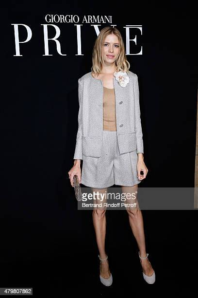 Elena Perminova attends the Giorgio Armani Prive show as part of Paris Fashion Week HauteCouture Fall/Winter 2015/2016 Held at Palais de Chaillot on...