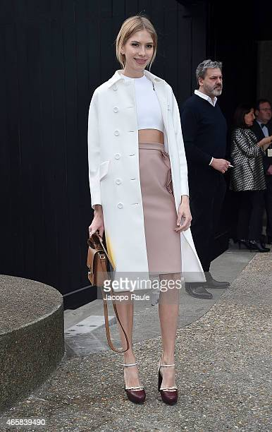 Elena Perminova attends the Miu Miu show as part of Paris Fashion Week Fall Winter 2015/2016 on March 11 2015 in Paris France