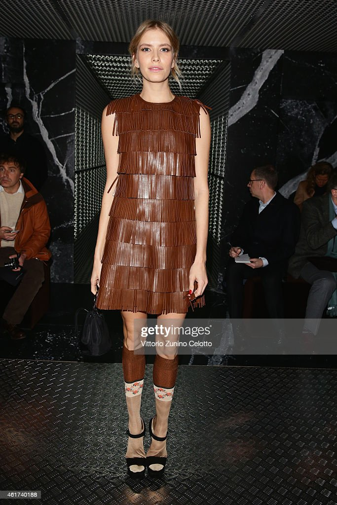 Elena Perminova attends the Prada show during the Milan Menswear Fashion Week Fall Winter 2015/2016 on January 18 2015 in Milan Italy