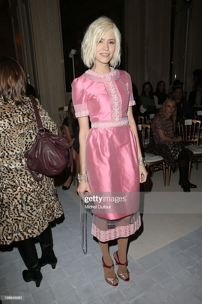 Elena Perminova attends the Valentino Spring/Summer 2013 Haute-Couture show as part of Paris Fashion Week at Hotel Salomon de Rothschild on January 23, 2013 in Paris, France.