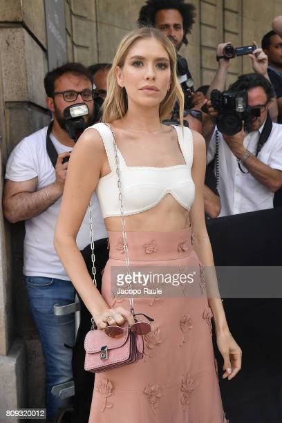 Elena Perminova is seen arriving at Valentino fashion show during the Paris Fashion Week Haute Couture Fall/Winter 20172018 on July 5 2017 in Paris...