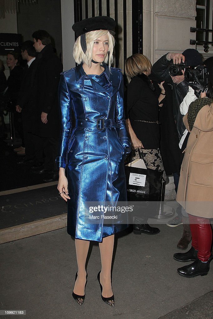Elena Perminova is seen leaving the Elie Saab Spring/Summer 2013 Haute-Couture show as part of Paris Fashion Week at Pavillon Cambon Capucines on January 23, 2013 in Paris, France.