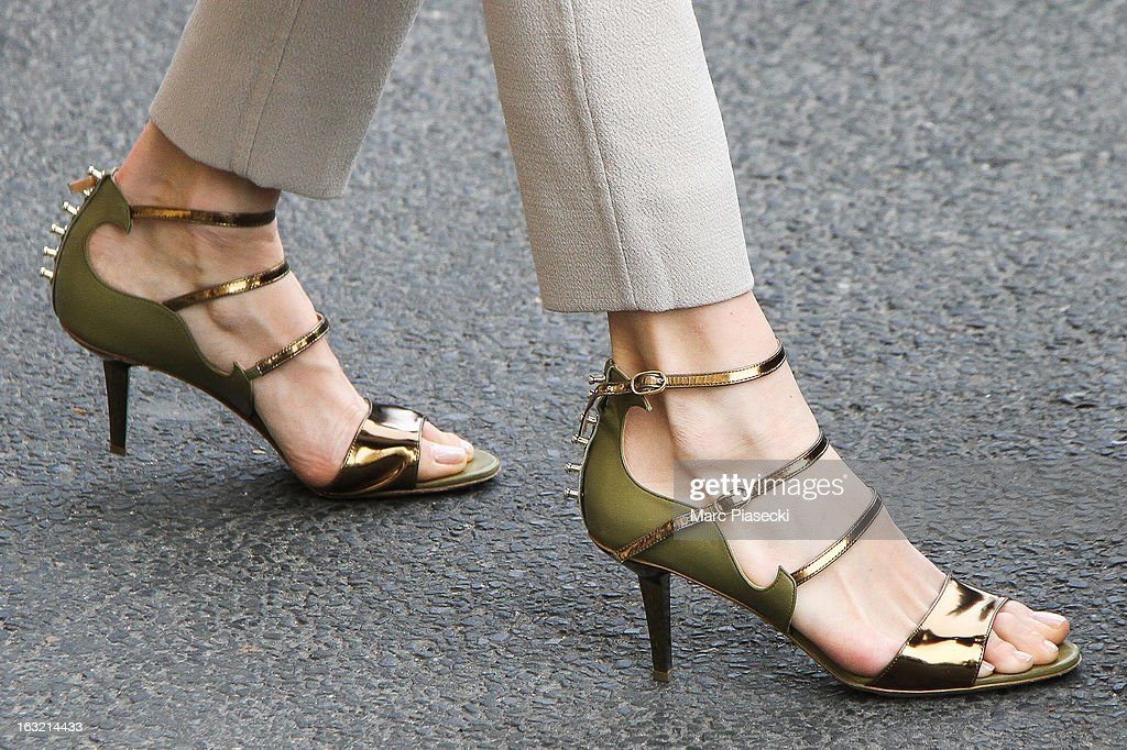 Elena Perminova (shoe detail) is sighted arriving at the 'Meurice' hotel on March 6, 2013 in Paris, France.