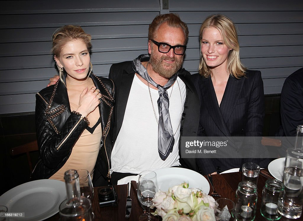 Elena Perminova, Johan Lindeberg and Caroline Winberg attend the BLK DNM Dinner with Johan Lindeberg and Kim Sion at Beagle Restaurant on May 8, 2013 in London, England.