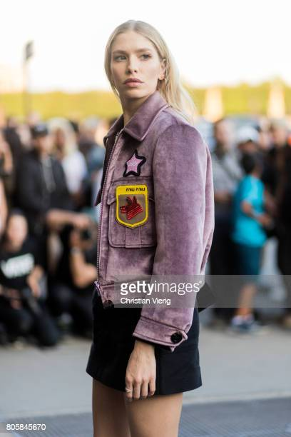 Elena Perminova outside Miu Miu Cruise Collection during Paris Fashion Week Haute Couture Fall/Winter 20172018 Day One on July 2 2017 in Paris France