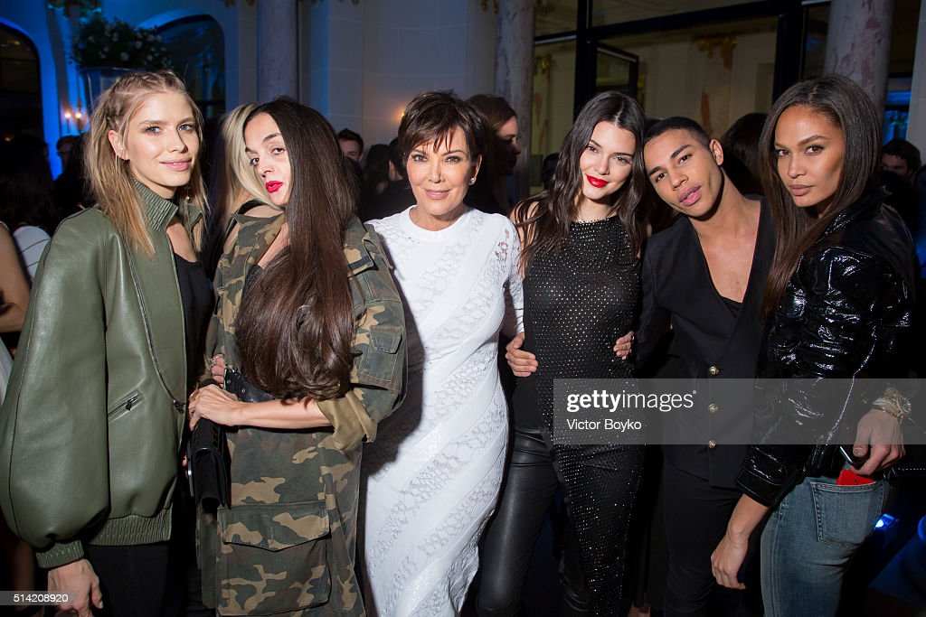 Elena Perminova, Rushka Bergman, Kris Jenner, Kendall Jenner, Olivier Rousteing and Joan Smalls attend the Editorialist Spring/Summer 2016 Issue Launch Party at the Hotel Peninsula as part of the Paris Fashion Week Womenswear Fall/Winter 2016/2017 on March 7, 2016 in Paris, France.