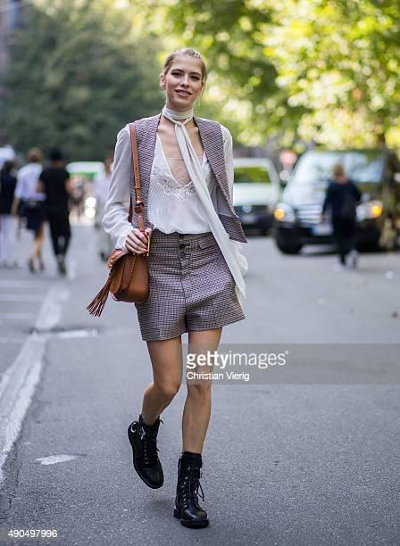 Elena Perminova wears Chloe and Giuseppe Zanotti shoes during Milan Fashion Week Spring/Summer 16 on September 26 2015 in Milan Italy
