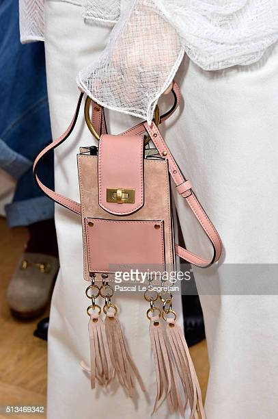Elena Perminovabag detail attends the Chloe show as part of the Paris Fashion Week Womenswear Fall/Winter 2016/2017 on March 3 2016 in Paris France
