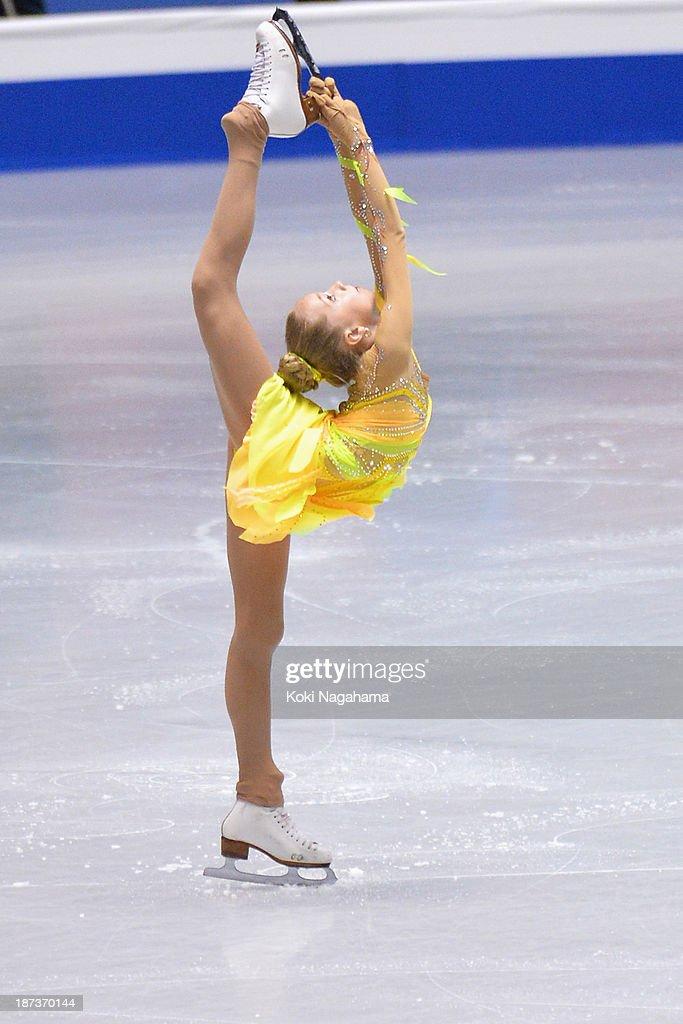 Elena Radionova of Russia competes in the women's short program during day one of ISU Grand Prix of Figure Skating 2013/2014 NHK Trophy at Yoyogi National Gymnasium on November 8, 2013 in Tokyo, Japan.