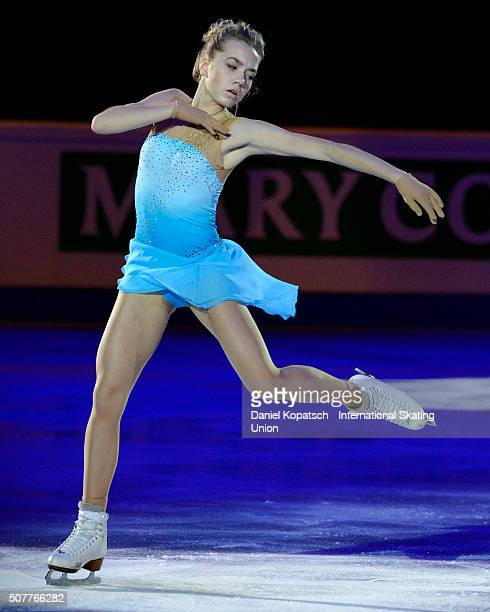 Elena Radionova of Russia performs during the Gala Exhibition during day five of the ISU European Figure Skating Championships 2016 on January 31...