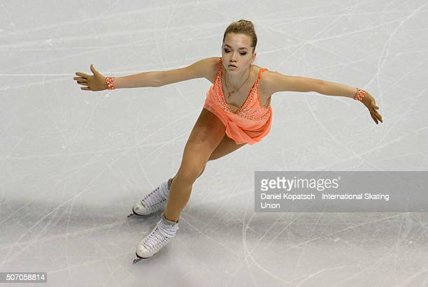 Elena Radionova of Russia performs during the Ladies Short Program during day one of the ISU European Figure Skating Championships 2016 on January 27...
