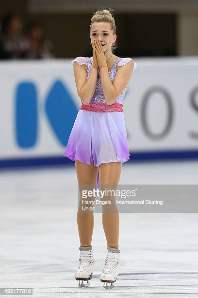 Elena Radionova of Russia reacts after skating during the Ladies Free Skating on day two of the Rostelecom Cup ISU Grand Prix of Figure Skating 2015...