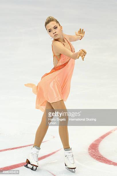 Elena Radionova of Russia skates during the Ladies Short Program on day one of the Rostelecom Cup ISU Grand Prix of Figure Skating 2015 at the...