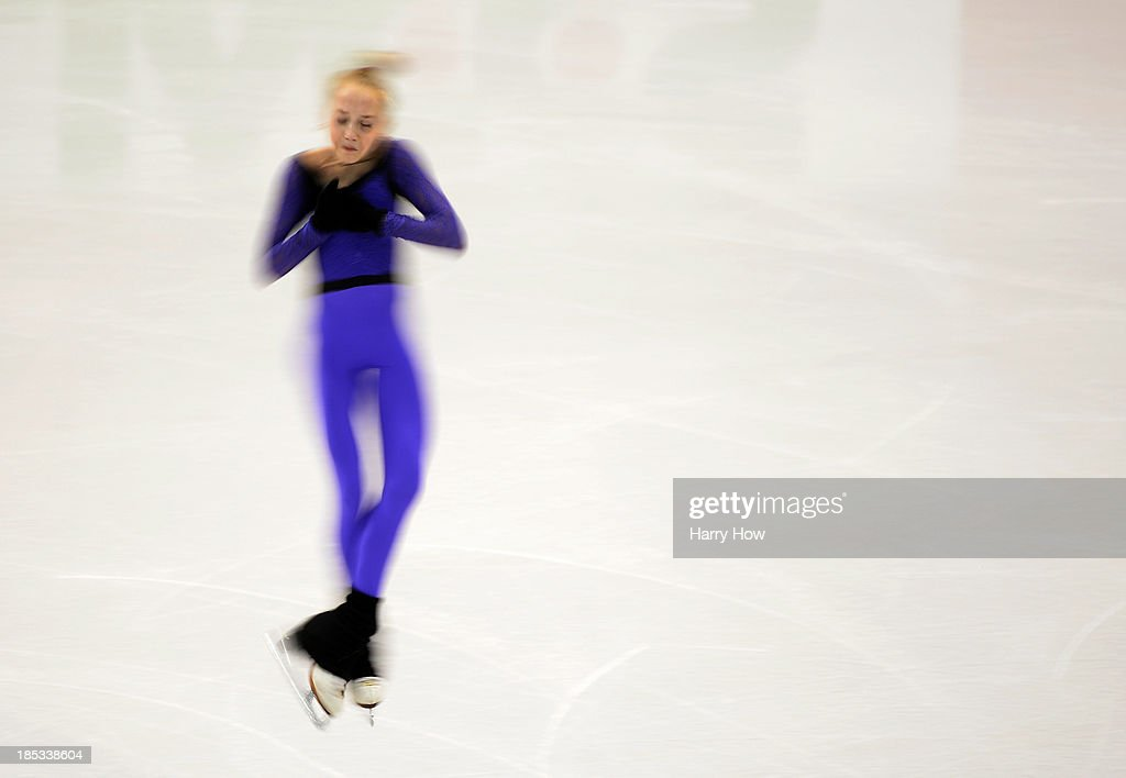 Elena Radionova of Russia spins during practice at Skate America 2013 at Joe Louis Arena on October 18, 2013 in Detroit, Michigan.