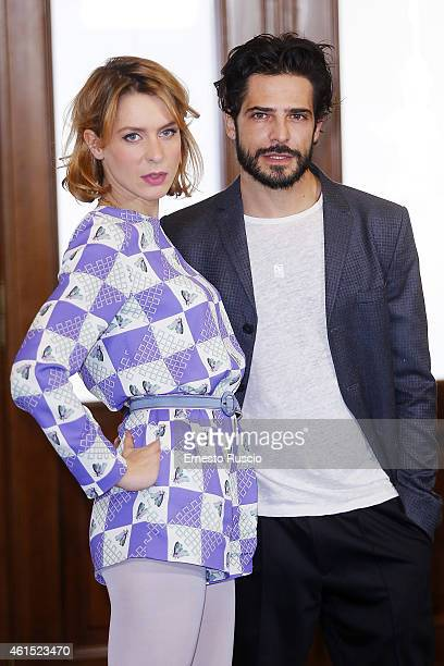 Elena Radonicich and Marco Bocci attend the 'Italo' photocall at Hotel Bernini on January 14 2015 in Rome Italy
