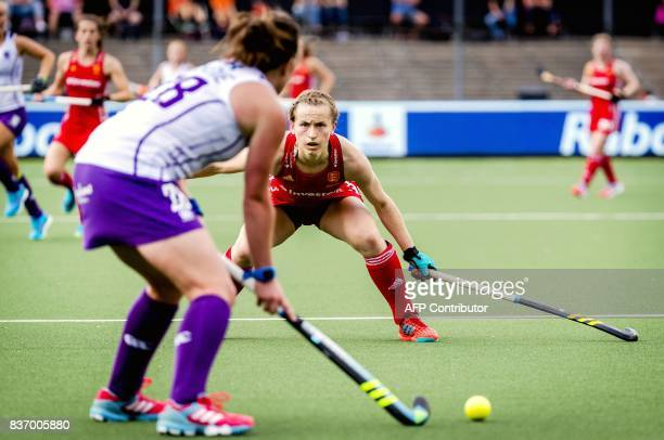 Elena Rayer of England defends during the Women's Hockey Rabo EuroHockey Championships match between England and Scotland in Amstelveen in The...