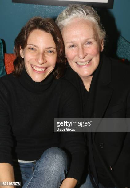 Elena Roger and Glenn Close pose backstage at the hit musical 'Sunset Boulevard' on Broadway at The Palace Theatre on April 20 2017 in New York City