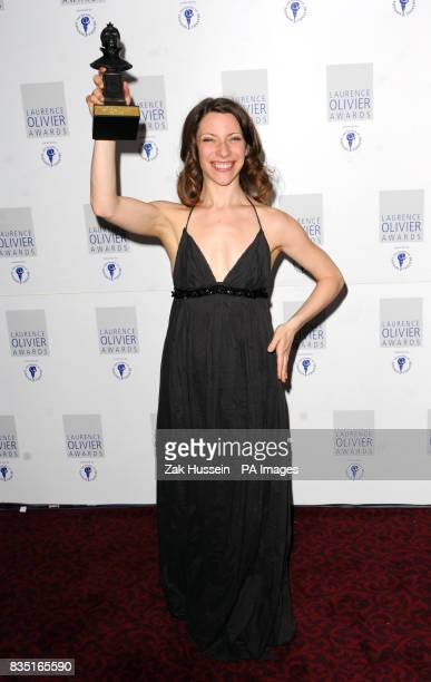 Elena Roger wins the Best Actress in a Musical Award during the Laurence Olivier Awards at the Grosvenor Hotel in central London