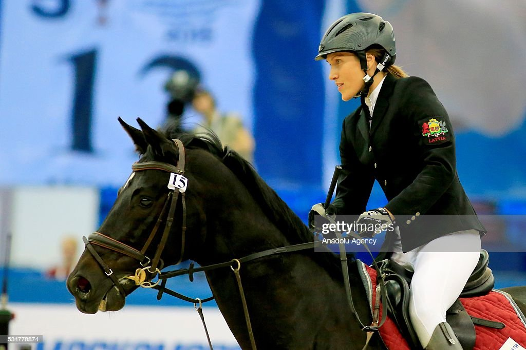 Elena Rublevska of Latvia competes during the riding discipline of the women's final at the modern pentathlon world championships in Moscow, Russia, on May 27, 2016.