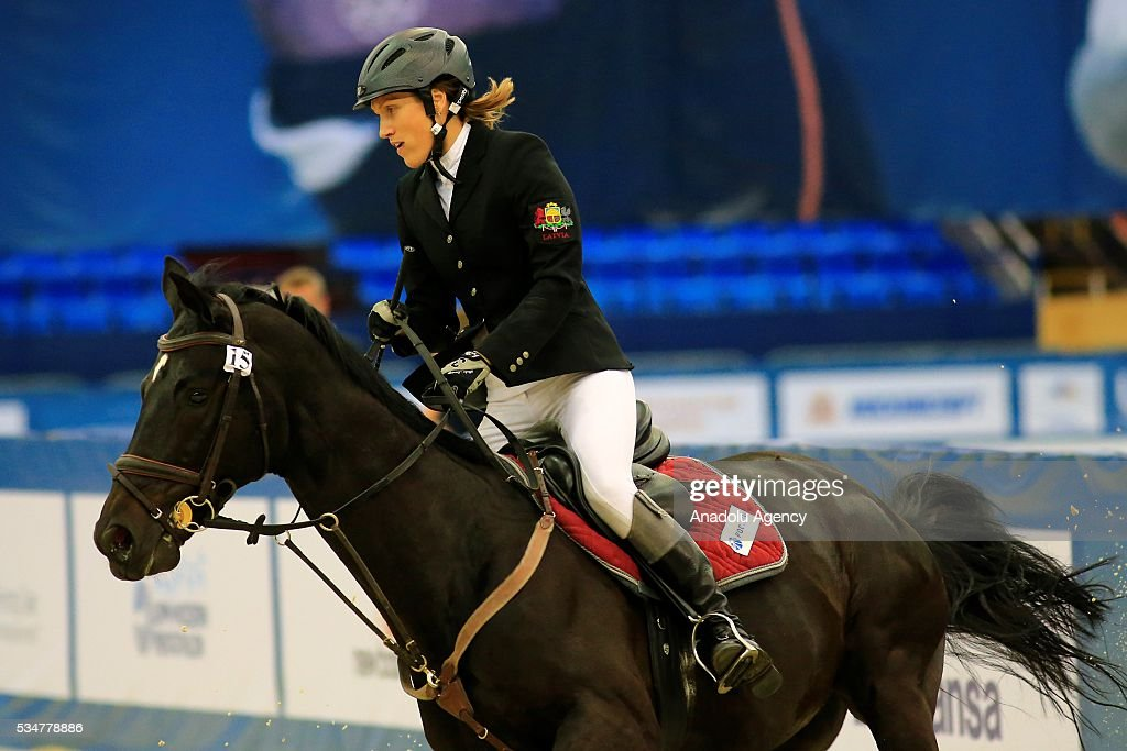 Elena Rublevska of Latvia with horse are seen during the riding discipline of the women's final at the modern pentathlon world championships in Moscow, Russia, on May 27, 2016.