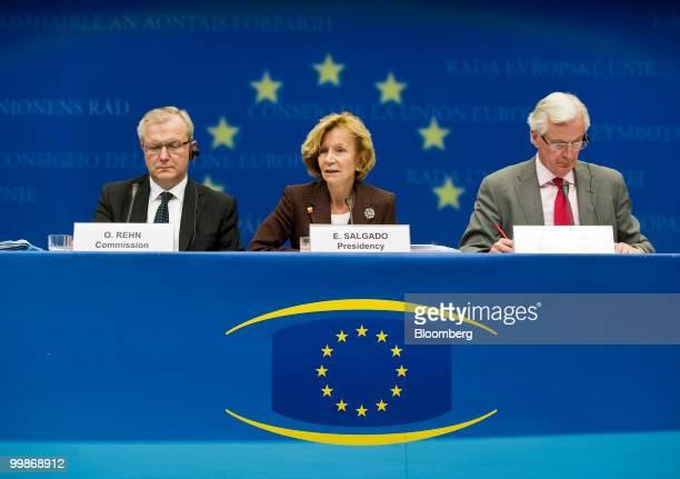 Elena Salgado Spain's finance minister center speaks as Olli Rehn the European Union's economic and monetary affairs commissioner left and Michel...