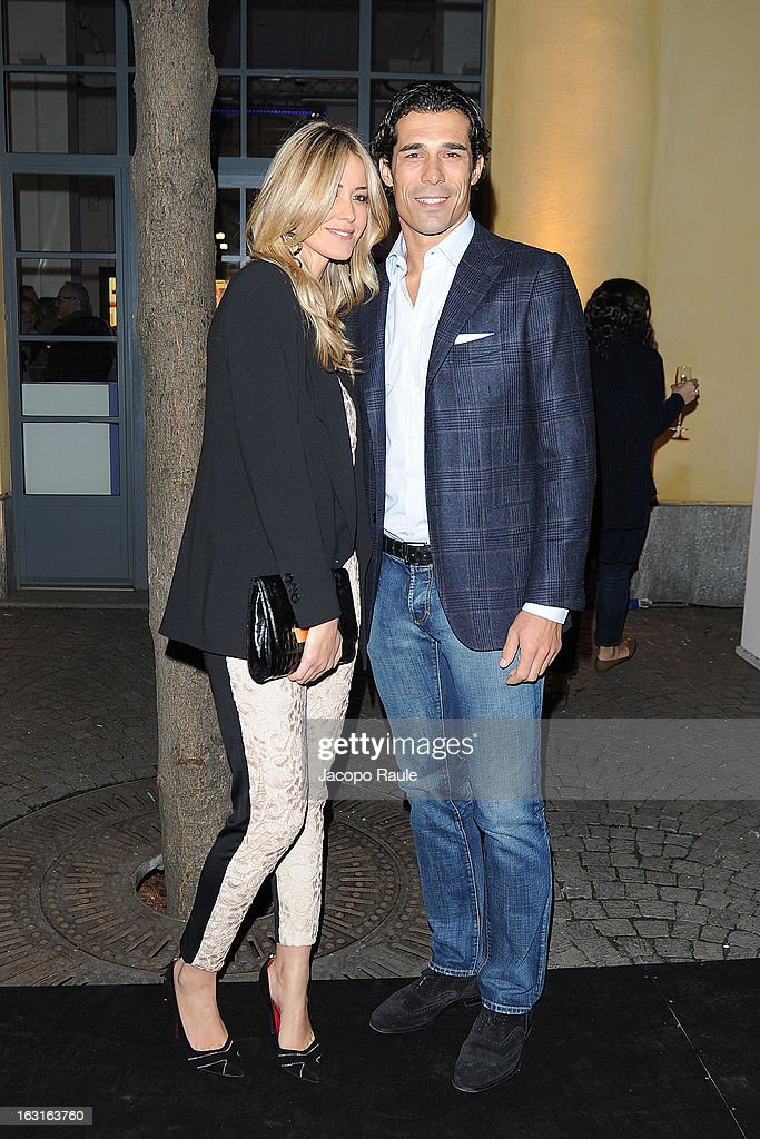 <a gi-track='captionPersonalityLinkClicked' href=/galleries/search?phrase=Elena+Santarelli&family=editorial&specificpeople=869824 ng-click='$event.stopPropagation()'>Elena Santarelli</a> and <a gi-track='captionPersonalityLinkClicked' href=/galleries/search?phrase=Bernardo+Corradi&family=editorial&specificpeople=646889 ng-click='$event.stopPropagation()'>Bernardo Corradi</a> attend Marcolin Hosts 'Sguardi d'Atelier' Exhibition on March 5, 2013 in Milan, Italy.