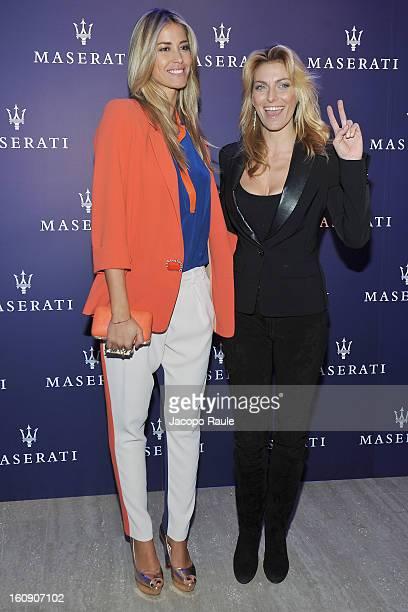 Elena Santarelli and Federica Fontana attend Maserati Quattroporte Cocktail on February 7 2013 in Milan Italy