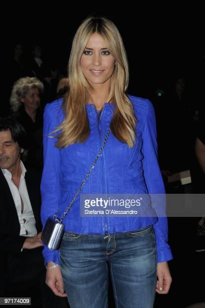 Elena Santarelli attends the Roberto Cavalli Milan Fashion Week Autumn/Winter 2010 show on February 28 2010 in Milan Italy