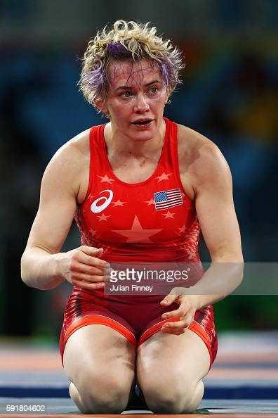 Elena Sergey Pirozhkova of the United States is defeated by Maryia Mamashuk of Belarus during the Women's Freestyle 63 kg Semifinals match on Day 13...