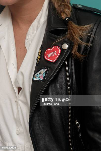 Elena Tablada patch detail attends the Deliveroo aniversary party photocall at Circulo de Bellas Artes on October 20 2016 in Madrid Spain