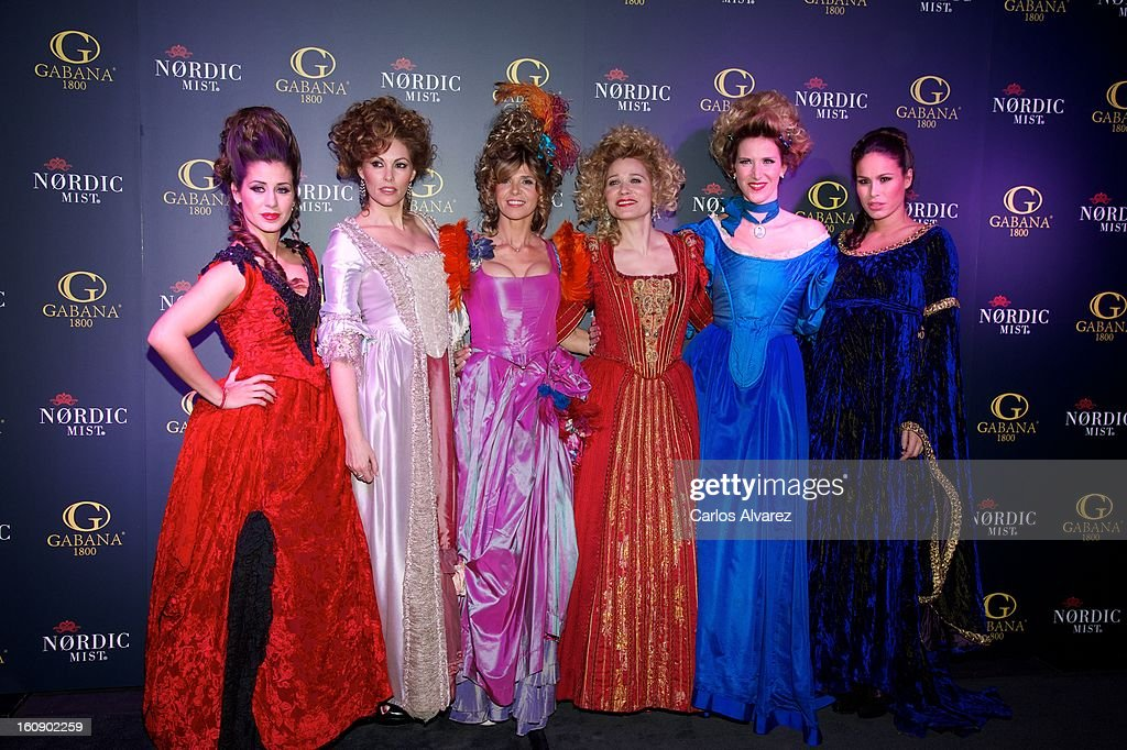 Elena Tablada, Raquel Rodriguez, Arantxa de Benito, Carla Hidalgo, Alejandra Prat and Mireia Canalda attend 'Carnaval 2013' party at Gabana Club on February 7, 2013 in Madrid, Spain.