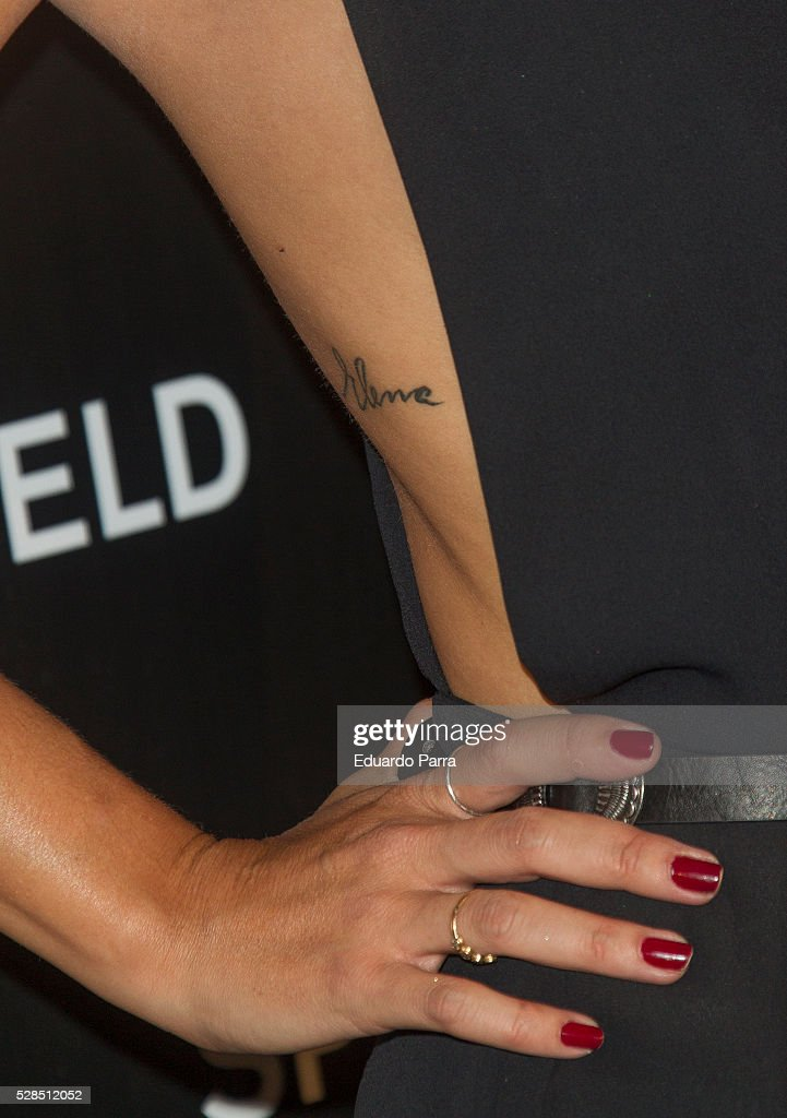 Elena Tablada, tattoo detail, attends the Springfield fashion film presentation photocall at Fortuny palace on May 05, 2016 in Madrid, Spain.
