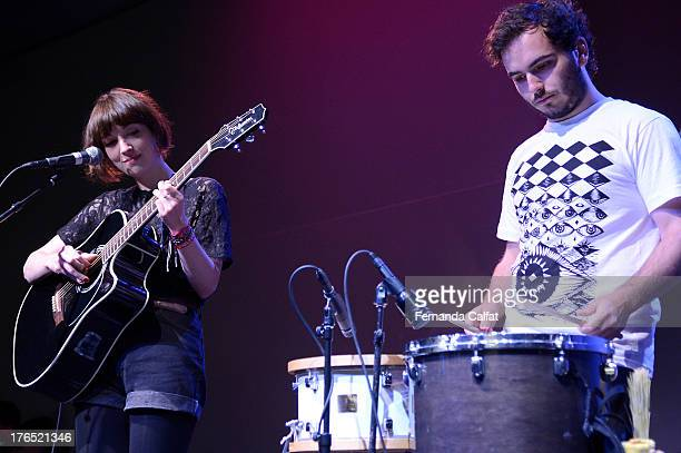 Elena Tonra and Remi Aguilella of Daughter perform live at the Apple Store Soho on August 14 2013 in New York City