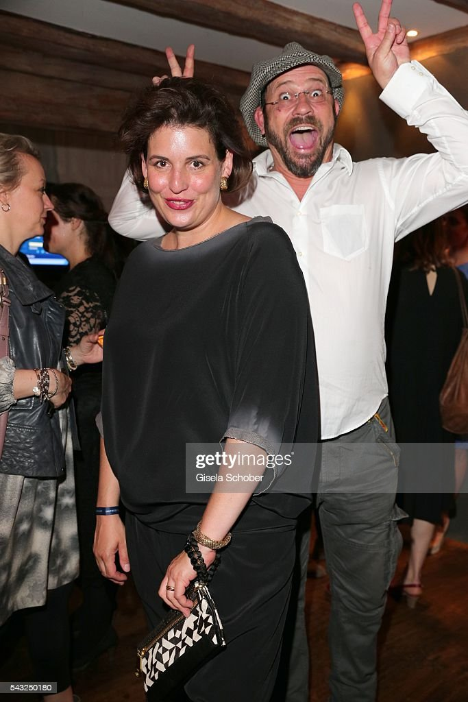 Elena Uhlig and Michel Guillaume makes a photo bomb during the Peugeot BVC Casting Night during the Munich Film Festival 2016 at Kaeferschaenke on June 26, 2016 in Munich, Germany.