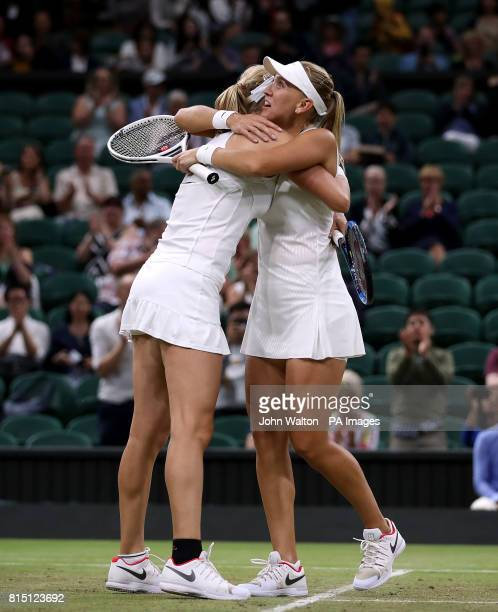 Elena Vesnina and Ekaterina Makarova celebrate winning the Ladies Doubles final on day twelve of the Wimbledon Championships at The All England Lawn...