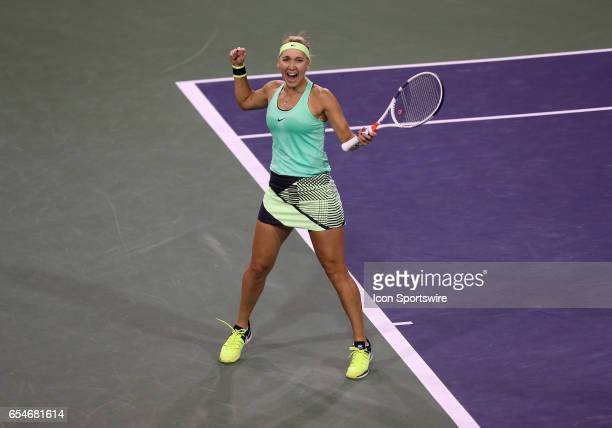 Elena Vesnina celebrates after defeating Kristina Mladenovic 63 64 in the semifinals of the BNP Paribas Open on March 17 at the Indian Wells Tennis...